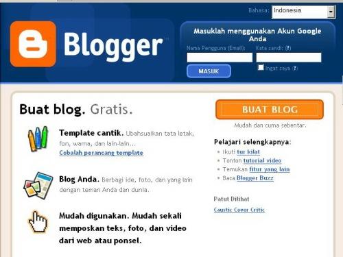 Halaman depan Blogger.com Indonesia