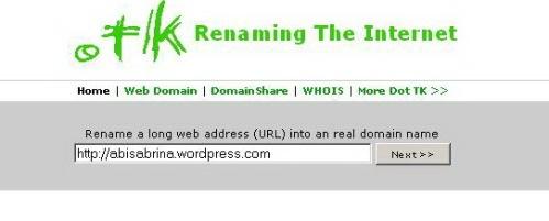 Halaman depan www.dot.tk