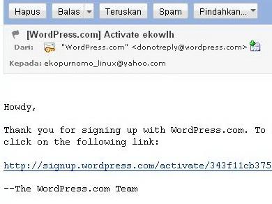Link aktivasi pada email