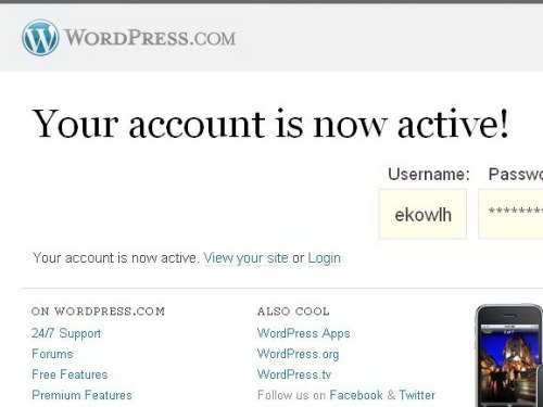 Registrasi account wordpress berhasil
