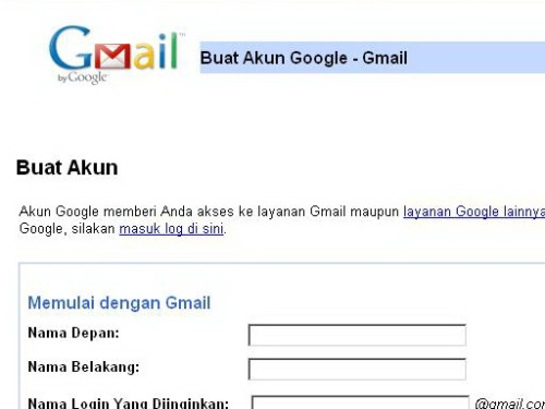Registrasi Gmail Account