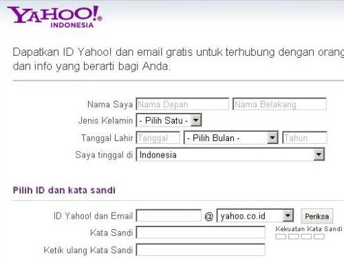 Halaman Registrasi Yahoo!