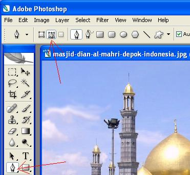 Pen tool dan path mode pada window