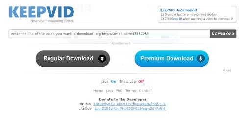 Tampilan Website Keepvid.com