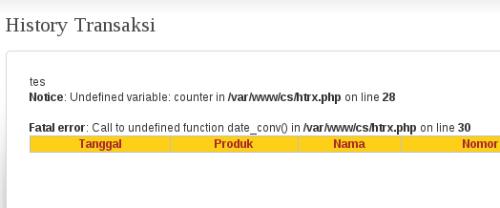 tampilan Error PHP pada browser